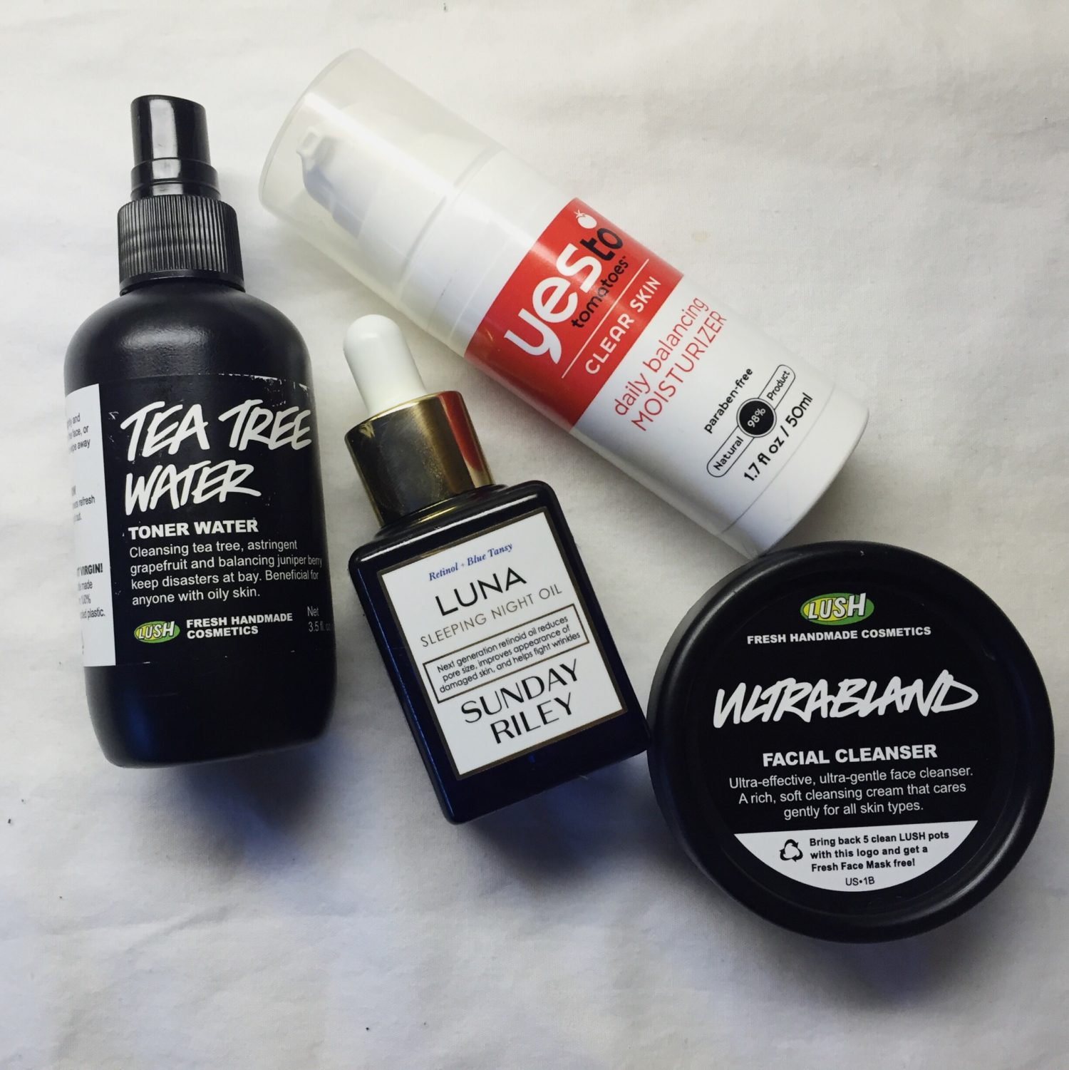 toner, lush, lotion, facial oil, cleanser